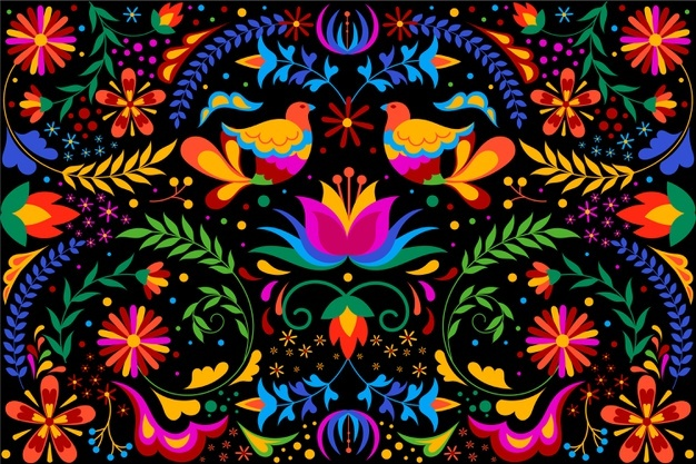 This image has an empty alt attribute; its file name is colorful-mexican-background-with-flowers-birds_23-2148477713.jpg